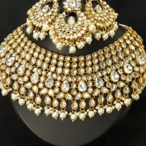 heavy pearls beads necklace set with earrings & Tikka,