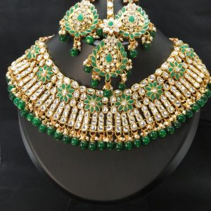 Indian Mendi/ kundan necklace set with Earrings & tikka