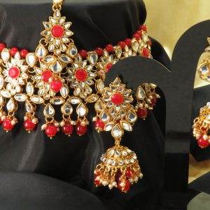 Indian party/ kundan necklace set with Earrings & tikka