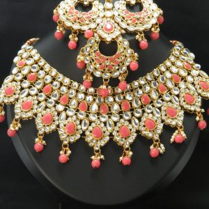 Indian kundan necklace set with Earrings & tikka