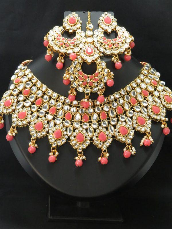 Indian kundan necklace set with Earrings & tikka