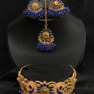 Indian partyi/ kundan necklace set with Earrings & tikka
